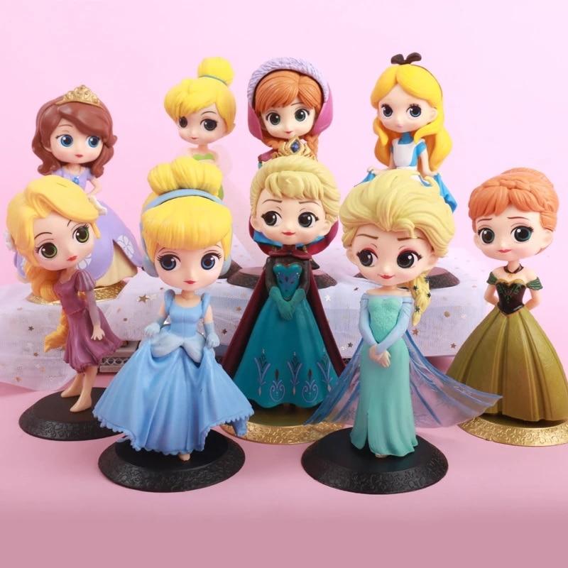 8 Style Disney Frozen Princess Anna Elsa Action Figures PVC Model Dolls Collection Birthday Gift Kids Toys Gifts недорого