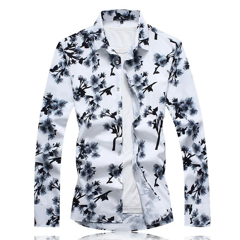 Camisas de manga larga de talla grande 7XL para hombre, camisas casuales de negocios holgadas blancas y negras para hombre, camisa de flores de marca de moda para hombre