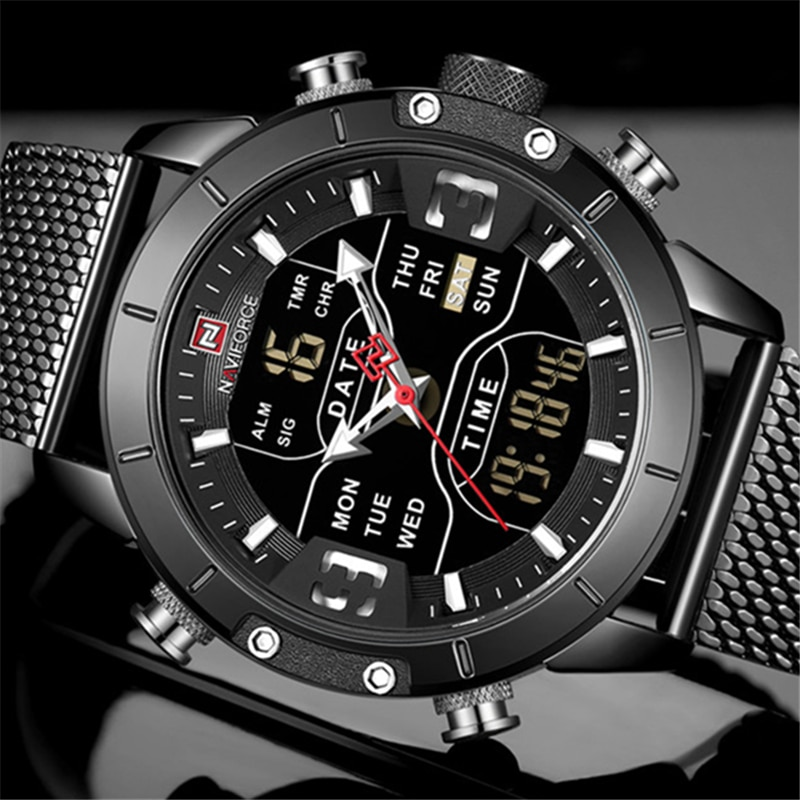 NAVIFORCE, reloj deportivo a la moda para hombre, reloj Digital de cuarzo resistente al agua para hombre, reloj de pulsera 9153 militar, reloj Masculino