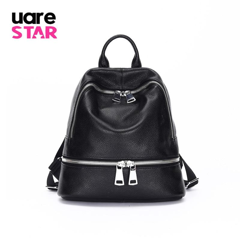 2020 nova moda feminina de couro real grande-capacidade mochila senhoras mochila viagem preto bolsa de ombro macio