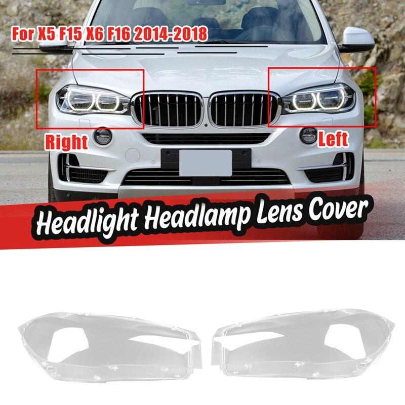 1 زوج ل-BMW X5 F15 X6 F16 2014-2018 سيارة العلوي لين غطاء رئيس ضوء مصباح شفاف عاكس الضوء عدسات إضاءة قذيفة