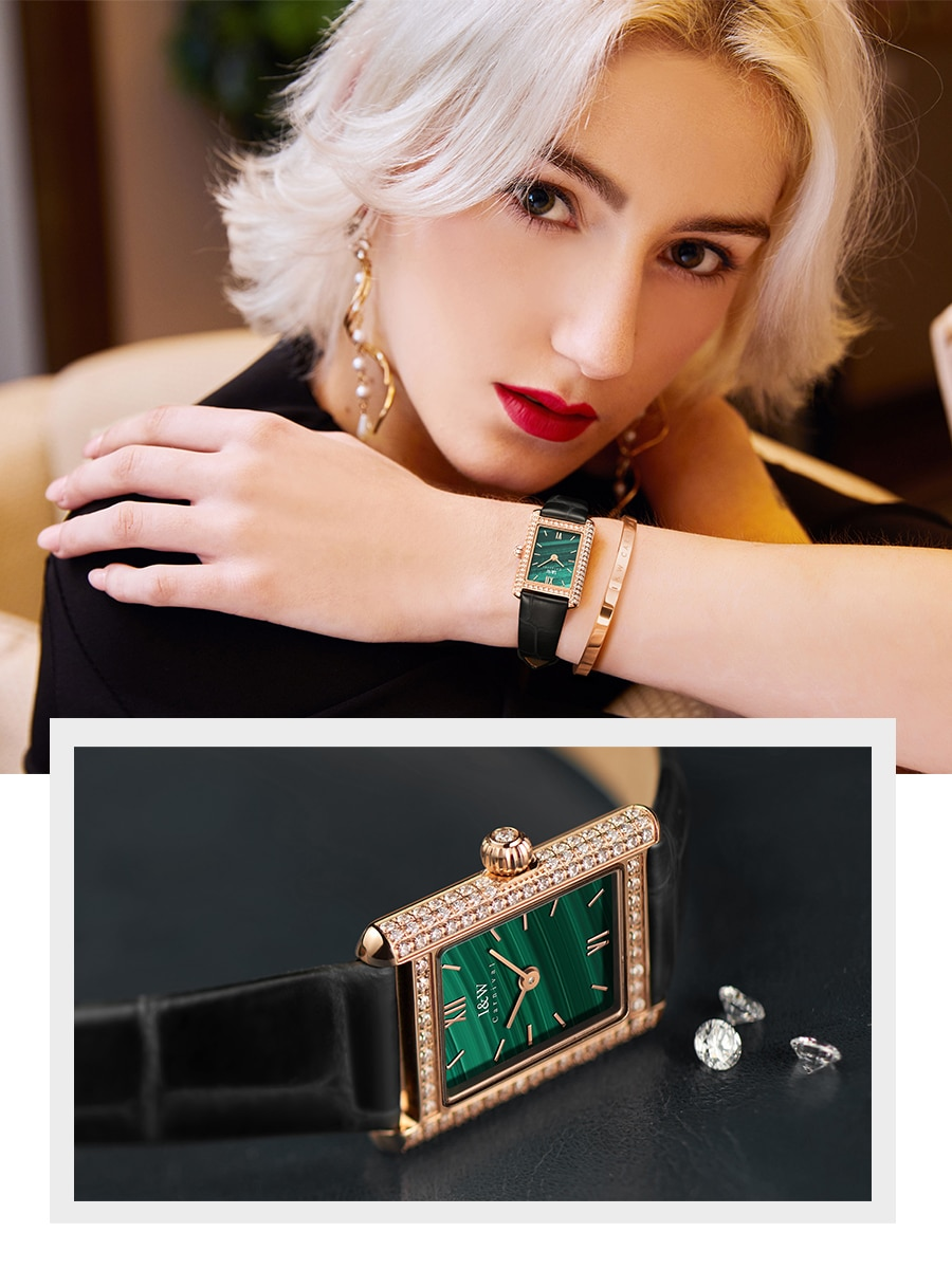 Swiss iw watch female authentic famous brand watch small green watch ins wind light luxury small square watch female watch diamo enlarge