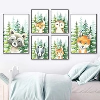 cartoons raccoon fox owl bear forest animal wall art canvas painting nordic posters and prints wall pictures kids room decor