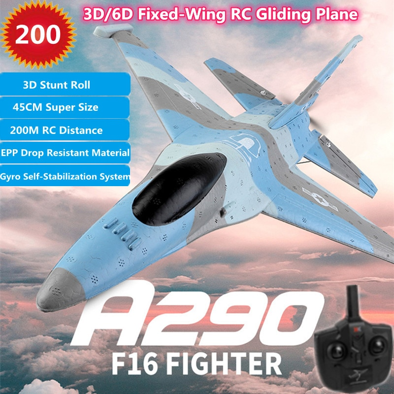 3D/6D Fixed-Wing Glider Plane 3D Stunt  Roll 200M Two Take Off Modes EPP Drop Resistant Material 45CM Super Size RC Airplane Toy