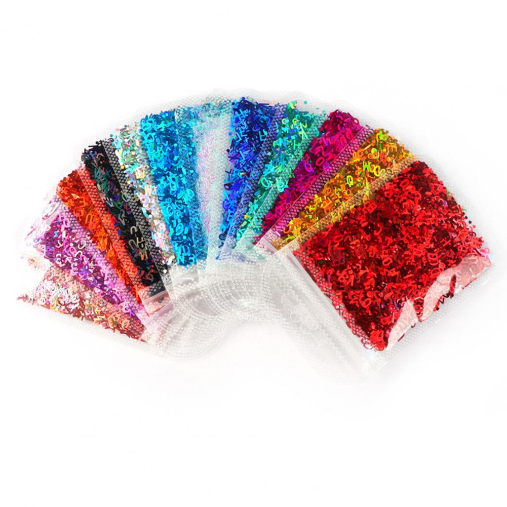 1 Pack Nail Sequins Glitter Letter Pattern PET Mixed Style Nail Paillette Lovely Nails Decoration Accessories
