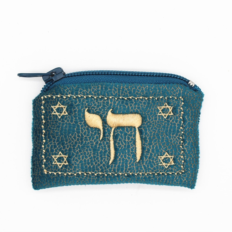 Jewish Mini Wallet bag David of star Embroidery Hebrew coin purse Suede Fabric