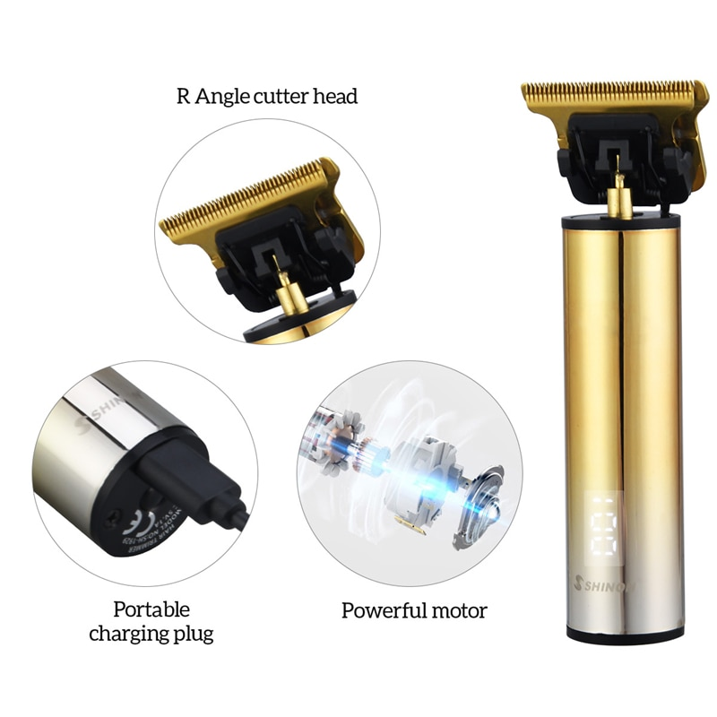 LED Display Professional Outliner Hair Trimmer USB Rechargeable Hair Cutting Zero Gapped Barber Clipper Detail Cordless Shaver enlarge