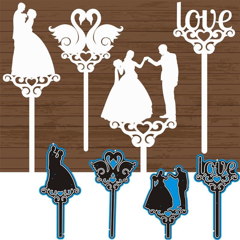 Metal Cutting Dies Wedding Bride And Groom Swans Love DIY Scrap Booking Photo Album Embossing Paper Cards