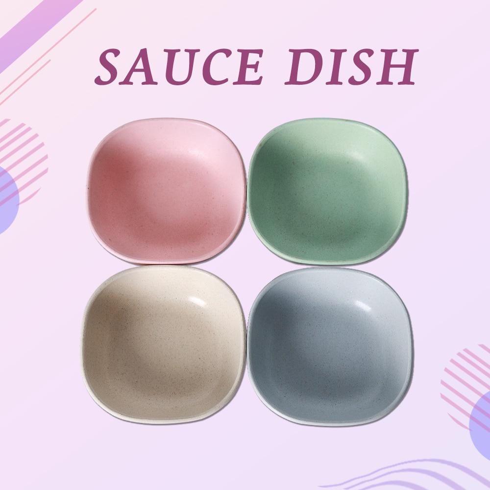 Plato para salsa ITOP, plato multifunción de fibra de bambú para Sushi, apto para alimentos, salud y seguridad, 4 colores uds/plato de plato