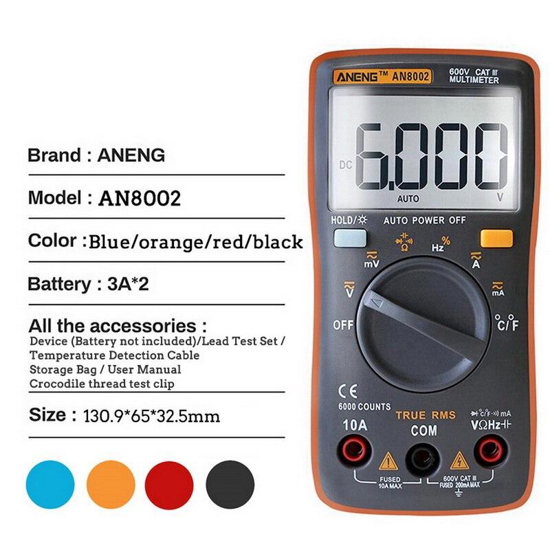 AN8002 Digital Multimeter Spannung Strom Widerstand Kapazität Tester