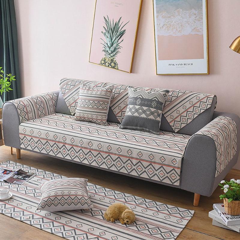 Funda de sofá de tela de lino de algodón, funda de sofá antideslizante, funda de sofá de estilo mediterráneo, toalla de sofá para decoración para sala de estar