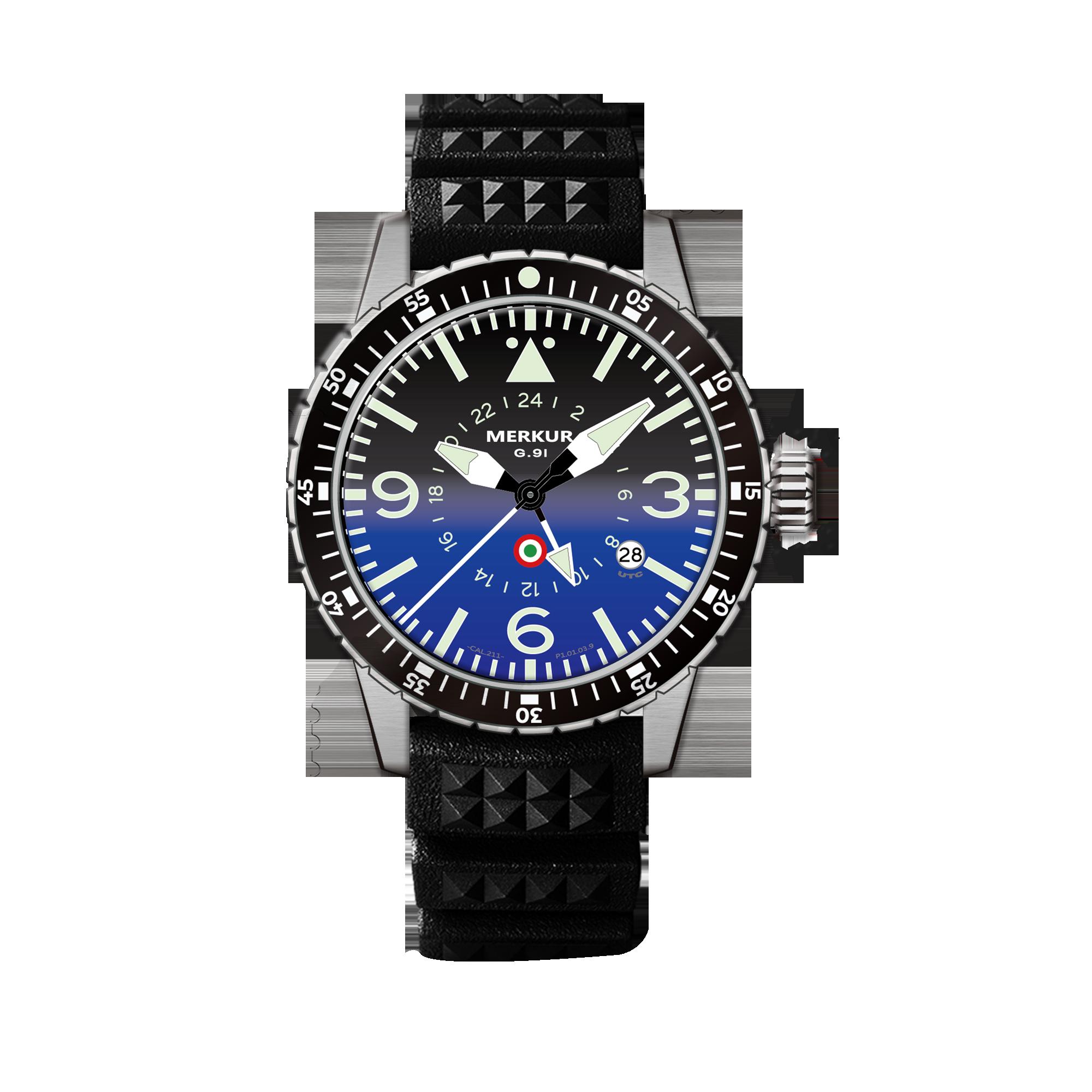 MERKUR GMT PILOT Series 100M Water Proof High Beat Automatic Sapphire Ceramic Bezel Men's Diver Spor