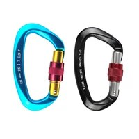outdoor 25kn mountaineering caving rock climbing carabiner d shaped safety master screw lock buckle escalade equipement