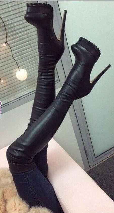 مثير أسود فوق حذاء برقبة للركبة النساء ضئيلة منصة طويلة أحذية الشتاء الثلوج طويل القامة