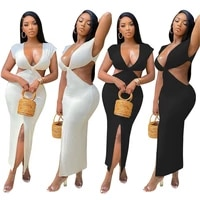 rstylish women close fitting sexy solid color deep v neck short sleeve waist hollow out 2021 summer maxi dress