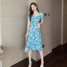 Frauen Sommer Kurzarm Hohe Taille V-ausschnitt Floral Ausgedruckten Casual Kleid Büro Dame Party Elegante Dünne Blaue Midi Kleid Vestidos