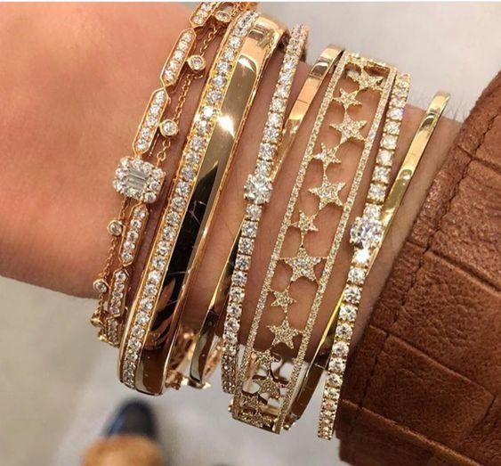 Gold filled micro pave white cubic zirconia cz band open women bangle bracelet Classic star european hot fashion modern design