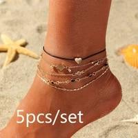 5pcsset vintage bohemian gold color chain anklets women girls heart leg ankle anklet hollow out bracelet beach jewelry