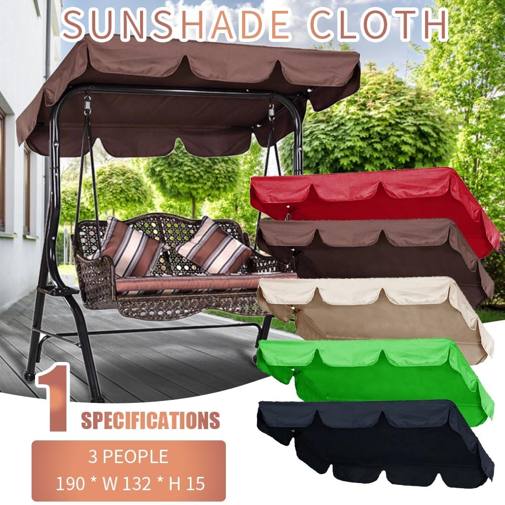 Doble cubierta de columpio para jardín al aire libre, dosel de repuesto, tela de sombra 190x132x15cm, impermeable, protección solar, tela de sombrilla # LR3