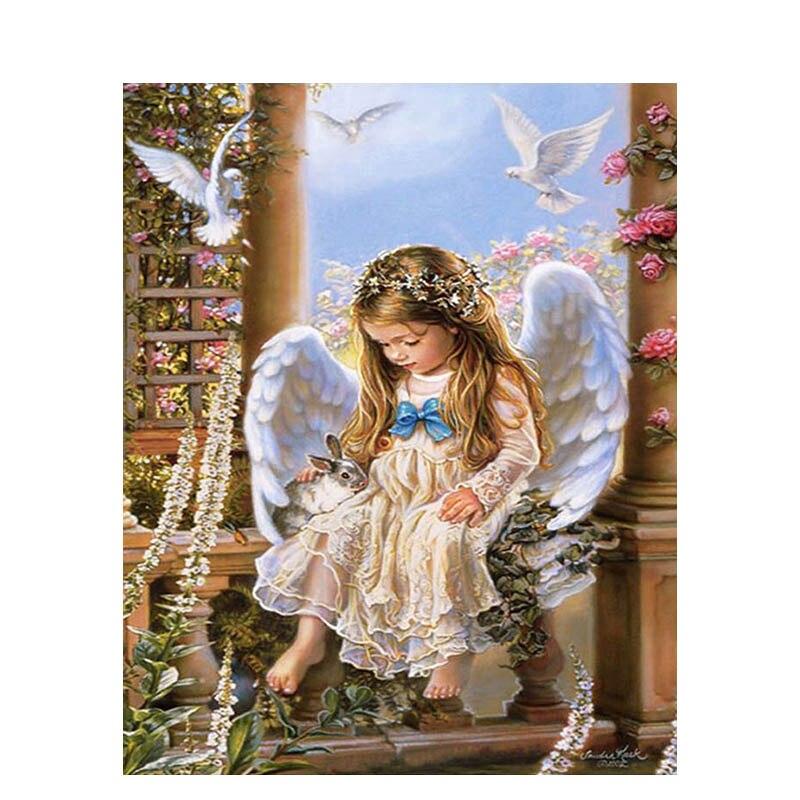 Pintura DIY de GATYZTORY con números, dibujo de ángel para niña, pintura al óleo pintada a mano, regalo único para decoración del hogar
