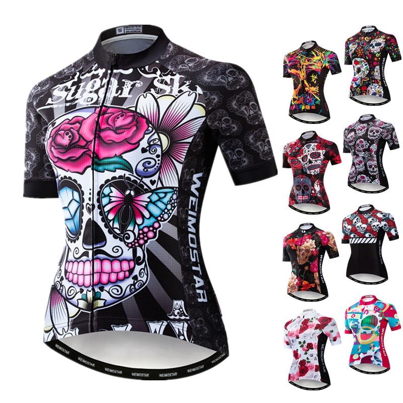 Weimostar-Camiseta de ciclismo calavera para mujer, maillot de ciclismo de montaña o...
