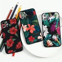 Funda de teléfono Retro de hoja Floral para Coque iPhone 7 8 6 6S Plus XR 11 Pro XS MAX X SE 2 2020 5 funda negra de silicona suave