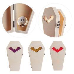 Decorações de halloween madeira caixão morcego caixa de luz ornamentos festa em casa suprimentos h55a