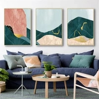abstract landscape wall art poster mountain art print orange green blue gold geometry canvas painting modern picture hoime decor