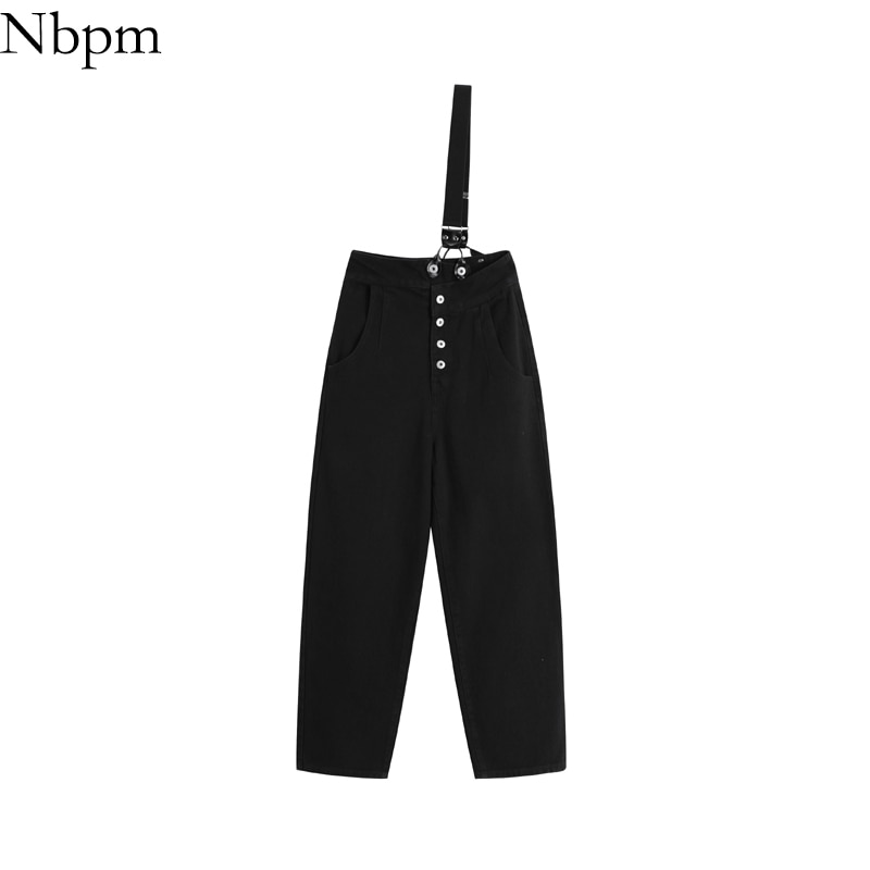 Nbpm Women 2021 Chic Fashion Overalls Casual Straight Washed Jeans Women's Pants Straight Leg Jeans