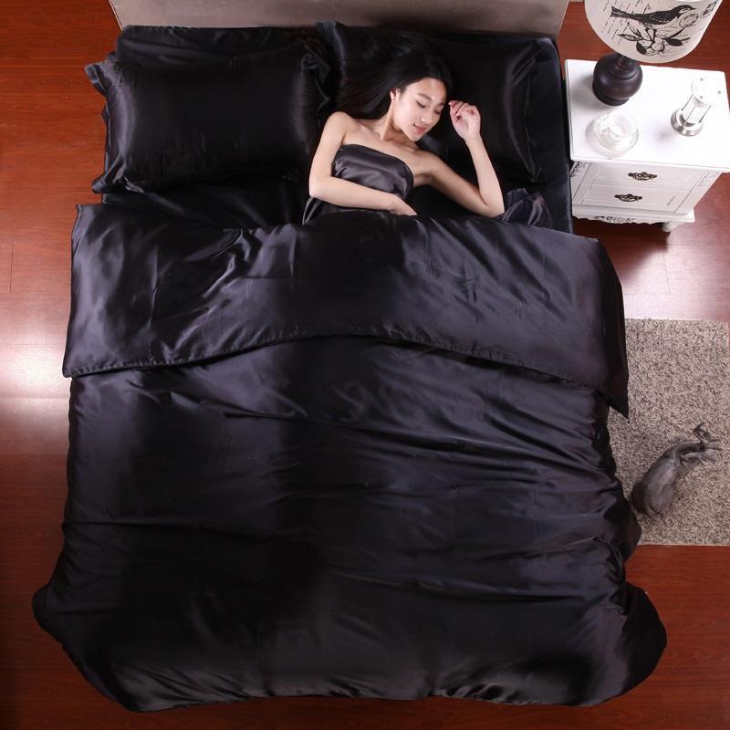 40 100% pure satin silk bedding set,Home Textile King size bed set,bedclothes,duvet cover flat sheet pillowcases Wholesale