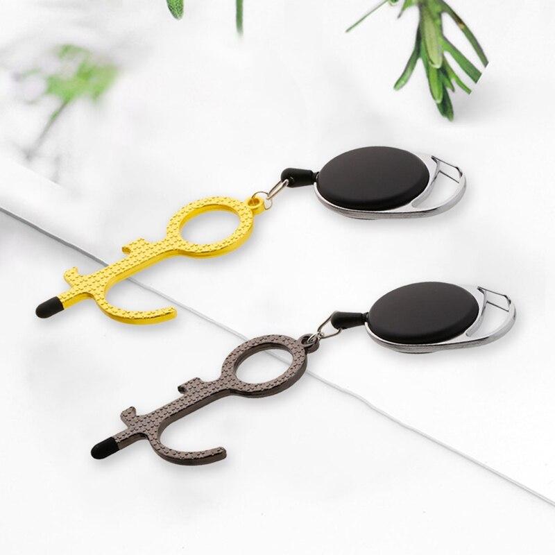 Prévention sûre porte-clés Portable EDC ouvre-porte stylet sans Contact bouton dascenseur outil sans Contact pas de Contact hygiène porte-clés