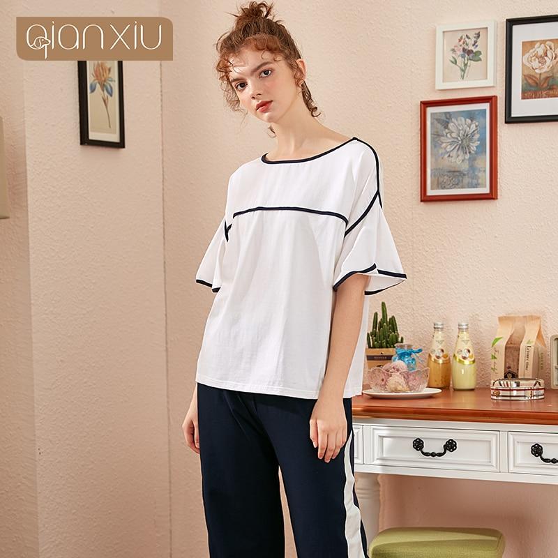 Pantalones de manga corta pijamas de mujer de media manga modal fino verano Linda ropa de hogar se puede usar fuera del traje