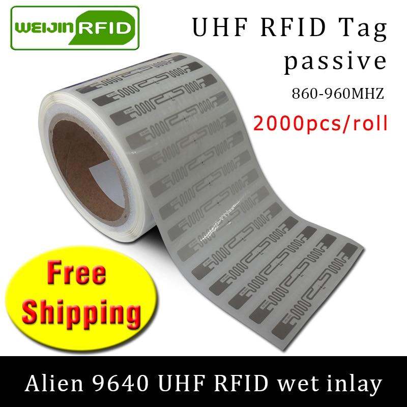 RFID علامة UHF ملصق الغريبة 9640 EPC6C الرطب البطانة 915mhz868mhz860-960MHZ Higgs3 2000 قطعة شحن مجاني لاصق السلبي RFID التسمية