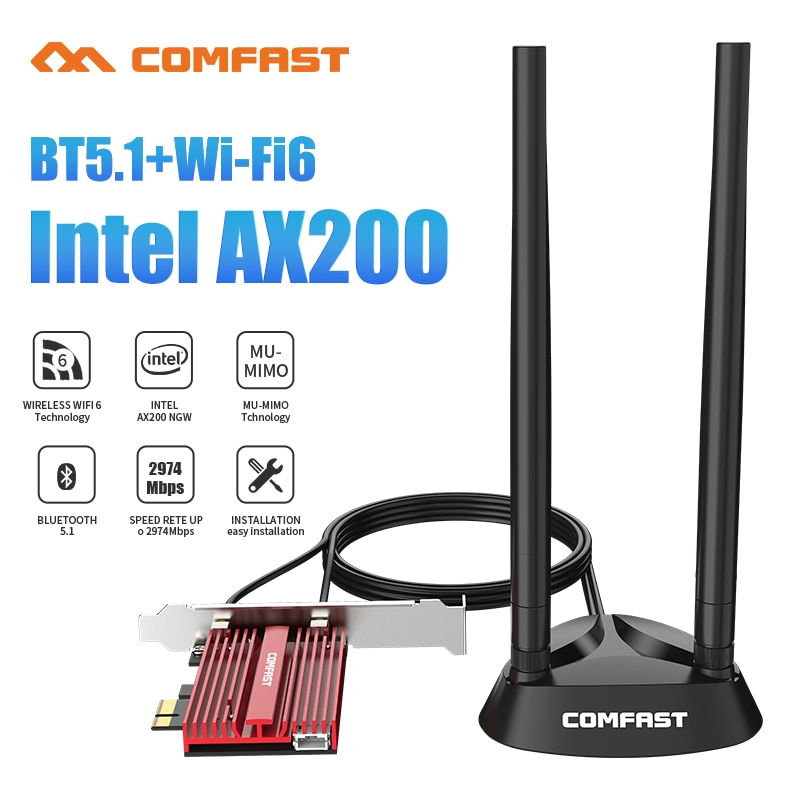 3000Mbps Dual Band 2.4Gbps WiFi-6 AX200 Gigabit Network Card Pcie Wi fi Bluetooth 5.1Wireless Adapter For Pc Desktop Windows 10