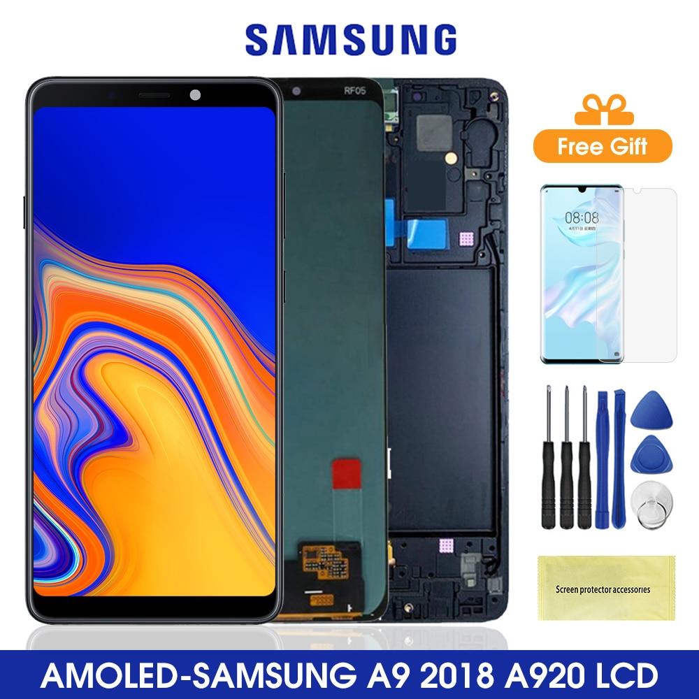 سوبر AMOLED 6.3 ''LCD لسامسونج غالاكسي A9 2018 A920 A920F SM-A920F/DS LCD عرض تعمل باللمس محول الأرقام الجمعية استبدال