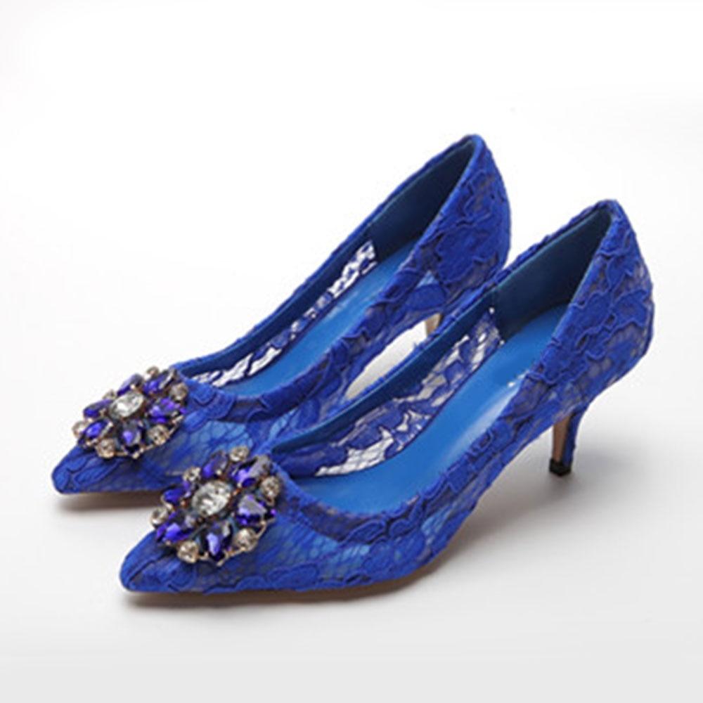 WEIQIAONA جديد أحذية امرأة أزياء من الدانتل حجر الراين مع الزهور الإناث أشار تو مضخات عالية الكعب فستان أحذية السيدات الأحذية