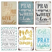 church pray every day poster retro metal tin signs vintage colorful plate 20x30cm home decoration believer bedroom wall decor