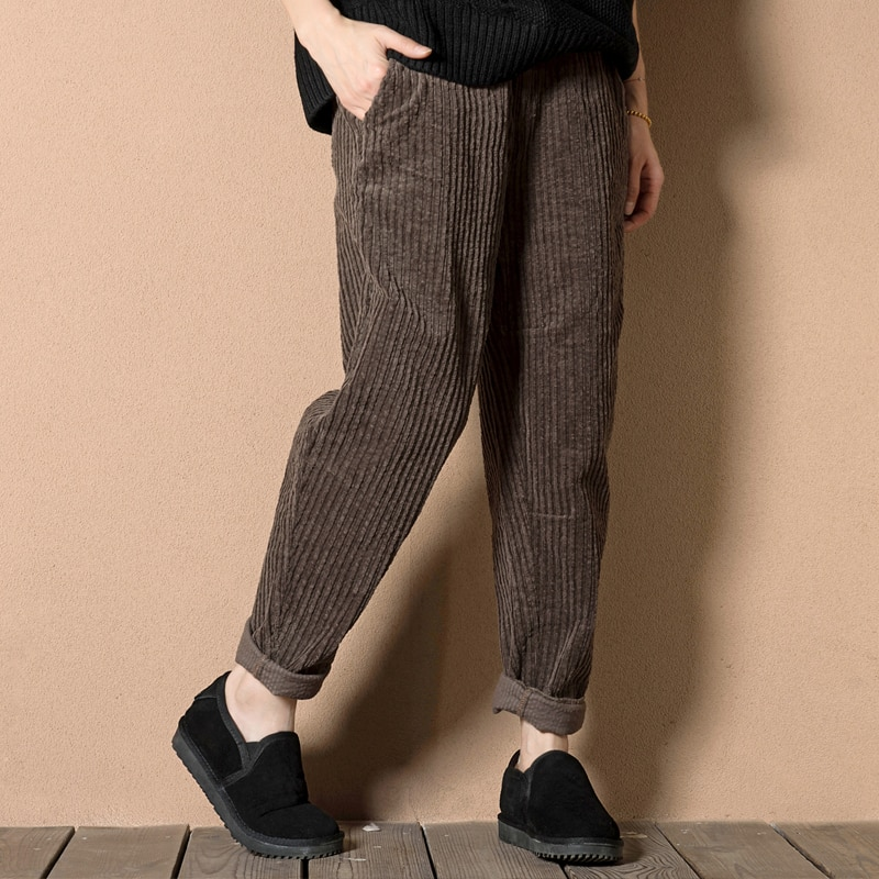 2020 Autumn New Artistic Corduroy plus Size Women's Pants Loose All-Matching Casual Pants High Waist