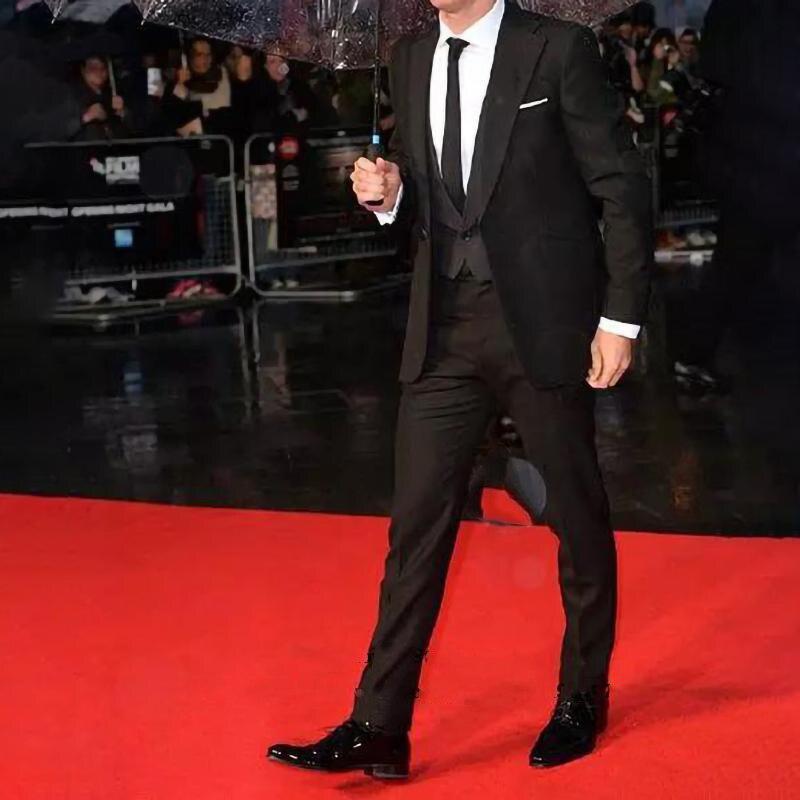 Мужской костюм с отложным воротником, черный смокинг для мужчин/женихов под заказ (пиджак + брюки + жилет)
