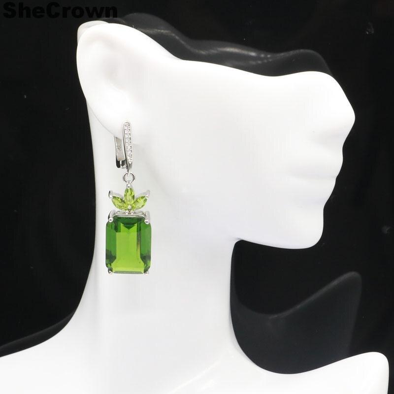 44x13 мм классические 18x13 мм прямоугольные зеленые перидот натуральный CZ женский подарок серебряные серьги кулон