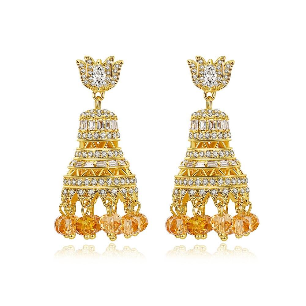 Pendientes grandes con purpurina estilo indio con cascabeles para mujer, para bodas, fiestas, bodas, con panes dorados, regalo de joyería de moda