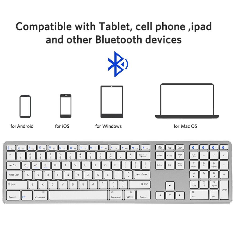 لوحة مفاتيح لاسلكية صغيرة محمولة متعددة إقران بلوتوث 109-مفتاح لوحة المفاتيح لأجهزة الكمبيوتر المحمول جهاز كمبيوتر شخصي دعم IOS/أندرويد/ويندوز