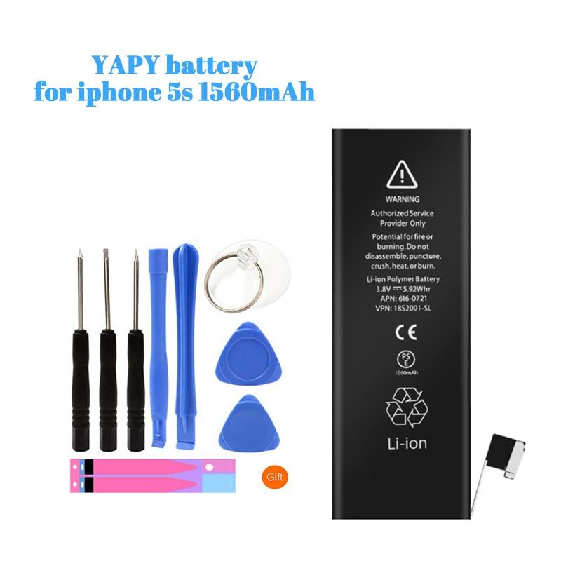 YAPY batería de teléfono móvil para iphone 5s capacidad real 1560mAh batería de repuesto + herramientas gratis pegatinas
