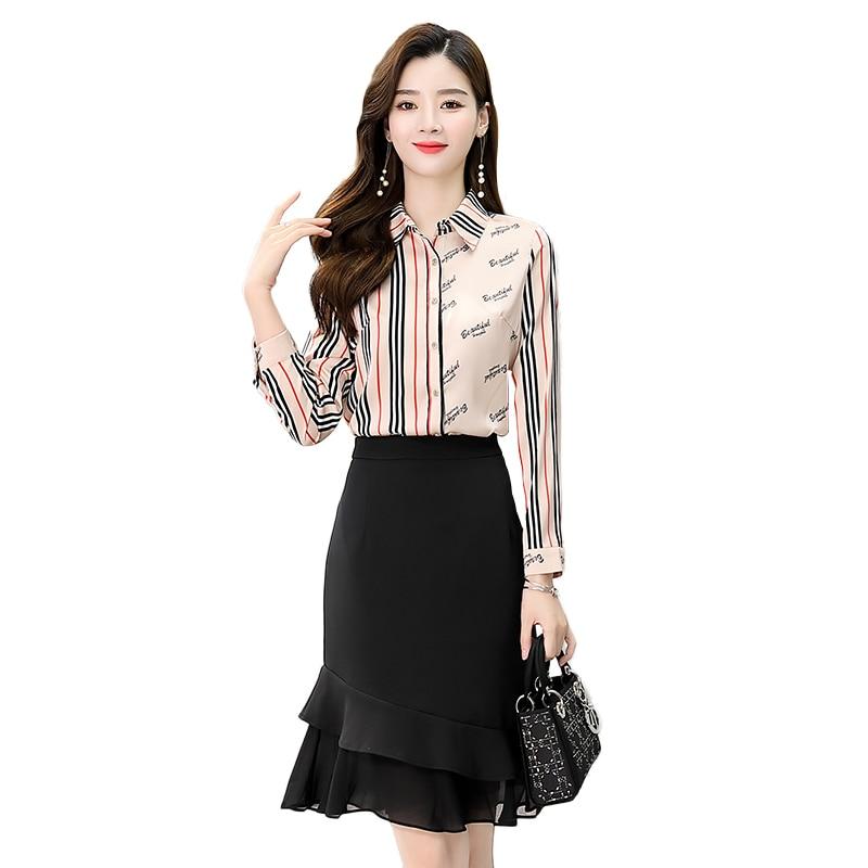 Business suit women's chiffon top short skirt early autumn light mature style temperament 2020 Autumn new two-piece set