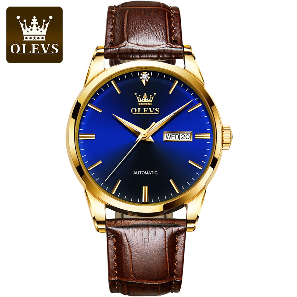 OLEVS Men's Watches Luxury Leather Mechanical Watch Classic Business Men Automatic Watch Waterproof Clock Man Relogio Masculino