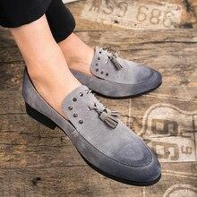 Luxe hommes chaussures habillées haute qualité hommes chaussures sociales hommes velours mocassins homme gland Rivet messieurs chaussures de mariage gris noir