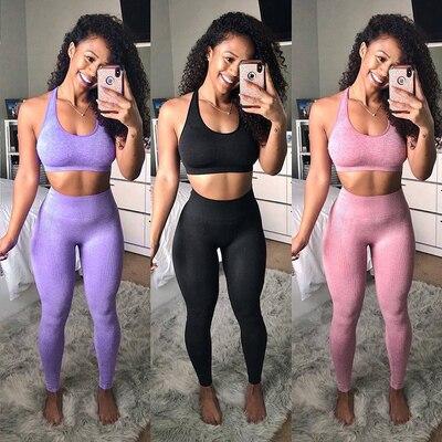 Conjunto de Yoga sin costuras ropa deportiva para mujer ropa deportiva Leggings de gimnasio acolchado push-up tiras Sujetador deportivo conjunto chándal deportivo