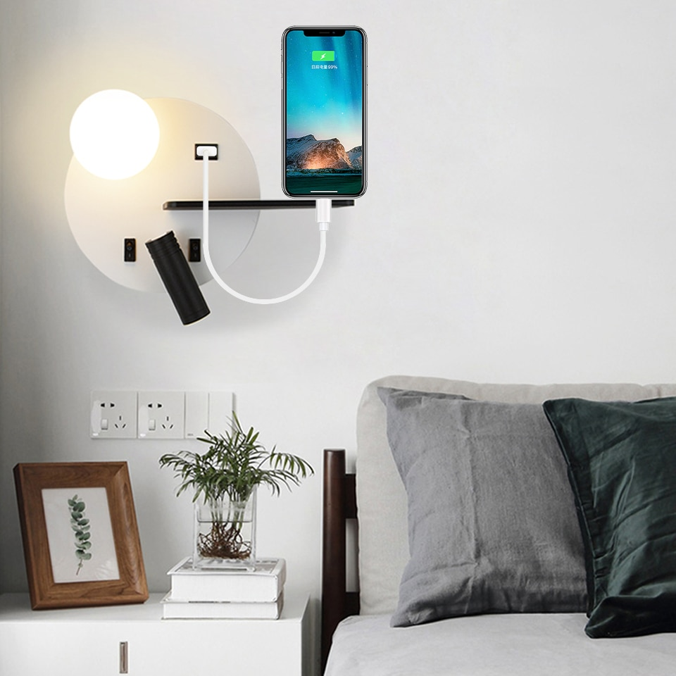 Interior lámparas de pared Led con interruptor USB 5V de lectura lámpara de pared sala de estar dormitorio nórdicos pared luz pasillo lámparas de pared