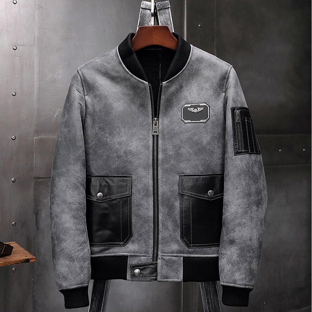 Chaqueta de piel de oveja para hombre, chaqueta de cuero para motocicleta Airforce A2, abrigo de vuelo, abrigo de piel con cuello de béisbol