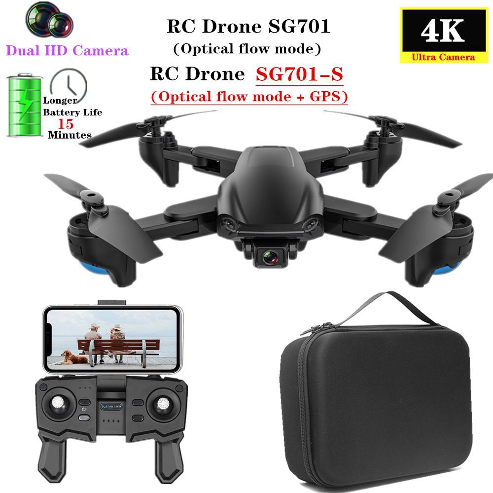 Sg701 SG701-S gps zangão com 5g wifi fpv 4k dupla câmera hd fluxo óptico quadcopter dobrável rc helicóptero vs s167 e520s